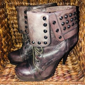 Bronx Distressed Leather Ankle Booties 8.5